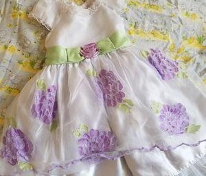 Pretty fancy white dress with purple flowers